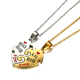 custom necklace plated-gold Stainless Steel Half heart Pendant for Couples