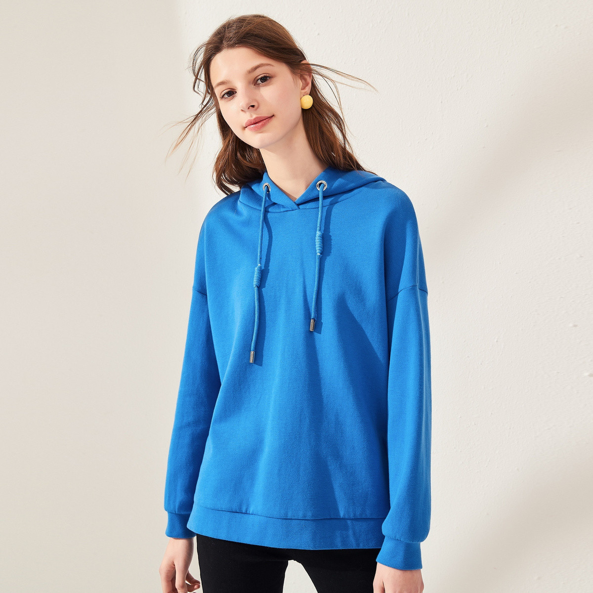 100% cotton  spring wear breathable french terry thin women hoodie