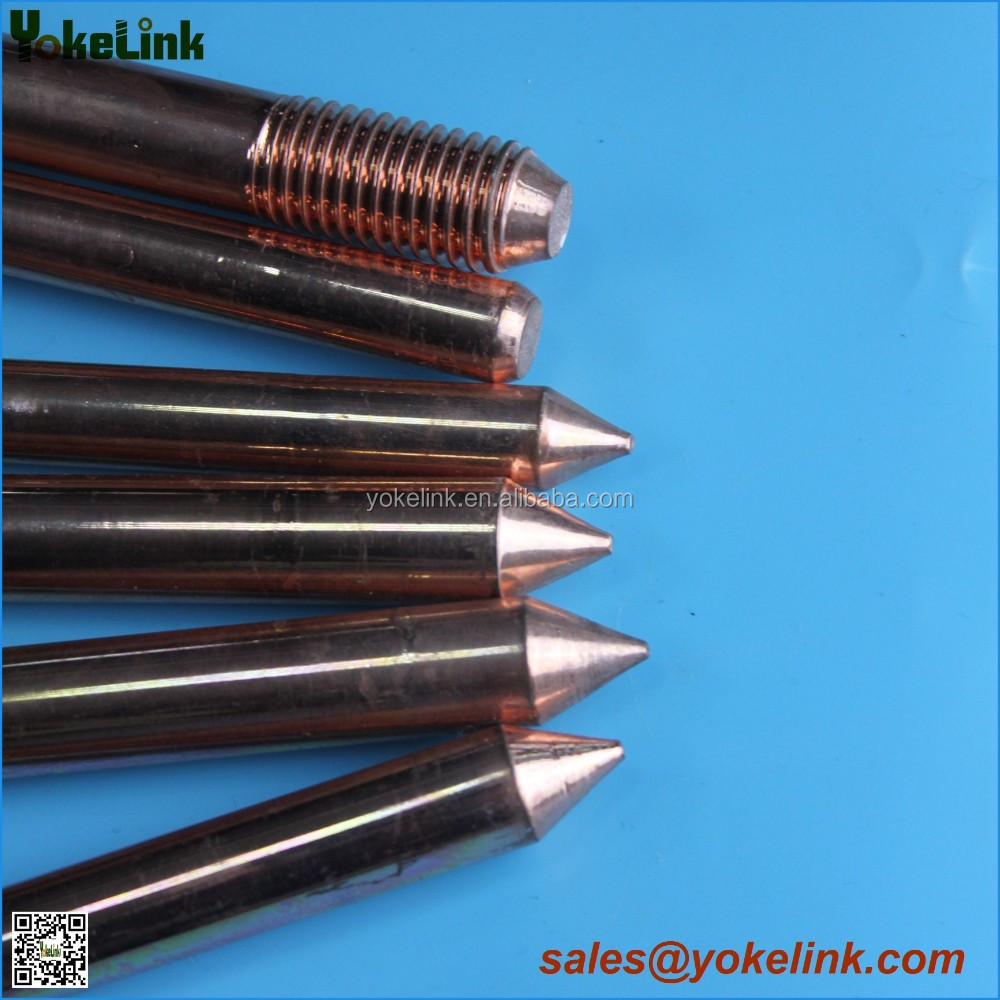Copper clad Steel Pointed Earthing Rod with clamp