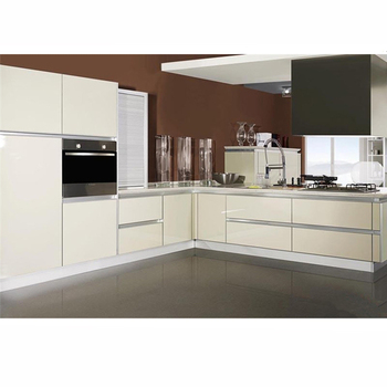 Modern open style kitchen cabinet acrylic doors design in small kitchen unit