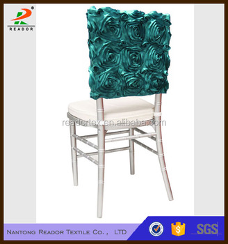 polyester shining satin rosette chair cap chair hood for wedding