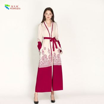 YIZHIQIU Print Cardigan Robe Plus Size Muslim Women Dress