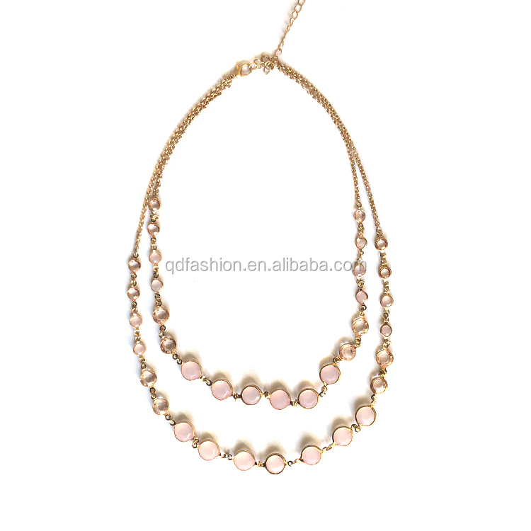 Simple Gold Chain Double Layered pink Rhinestone Choker Necklace