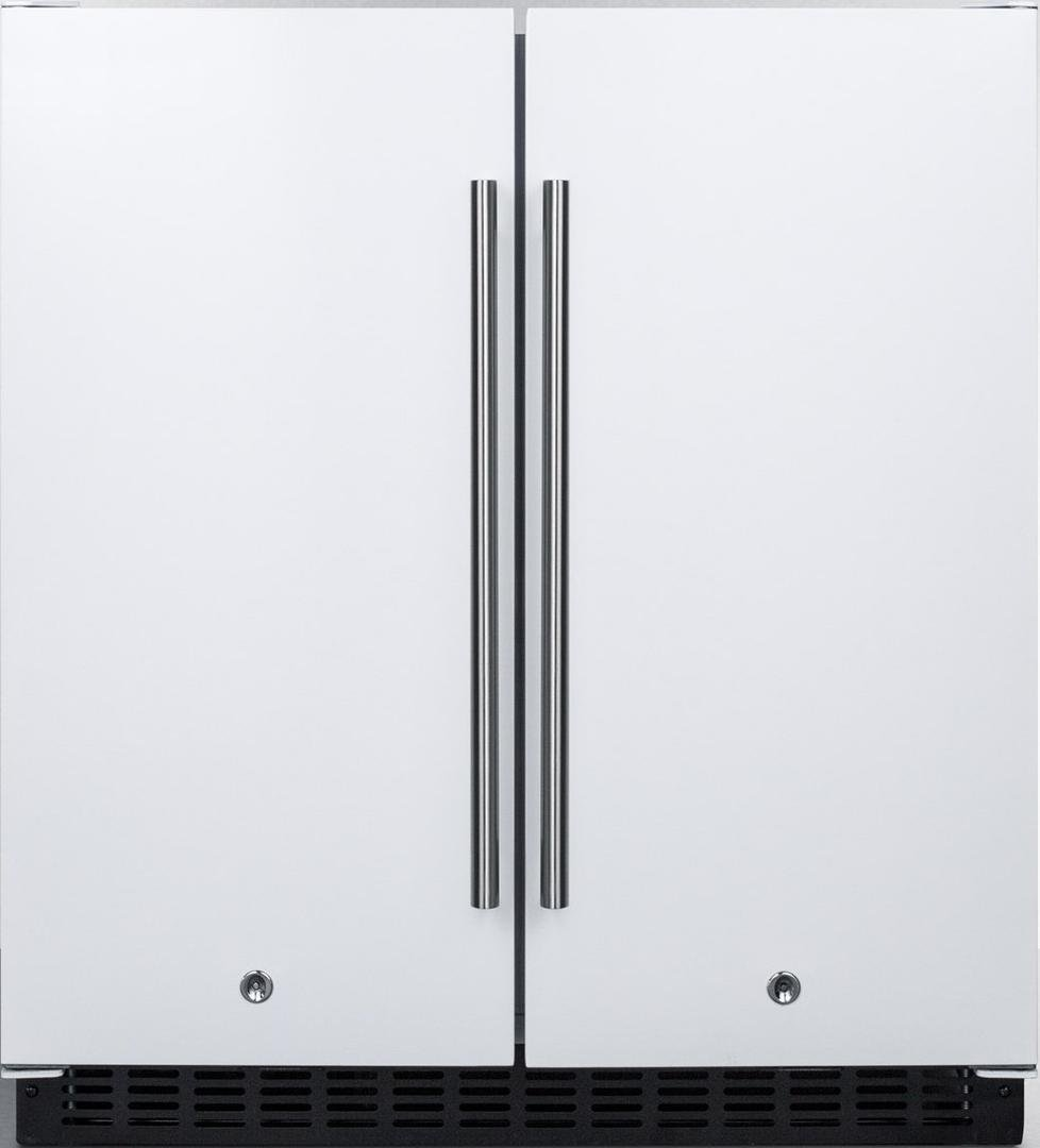 FFRF3075W 30 Compact Side by Side Refrigerator and Freezer with 5.4 cu. ft. Capacity Frost-Free Operation Factory Installed Lock LED Lighting Digital Thermostat Temperature and Door Alarm in White
