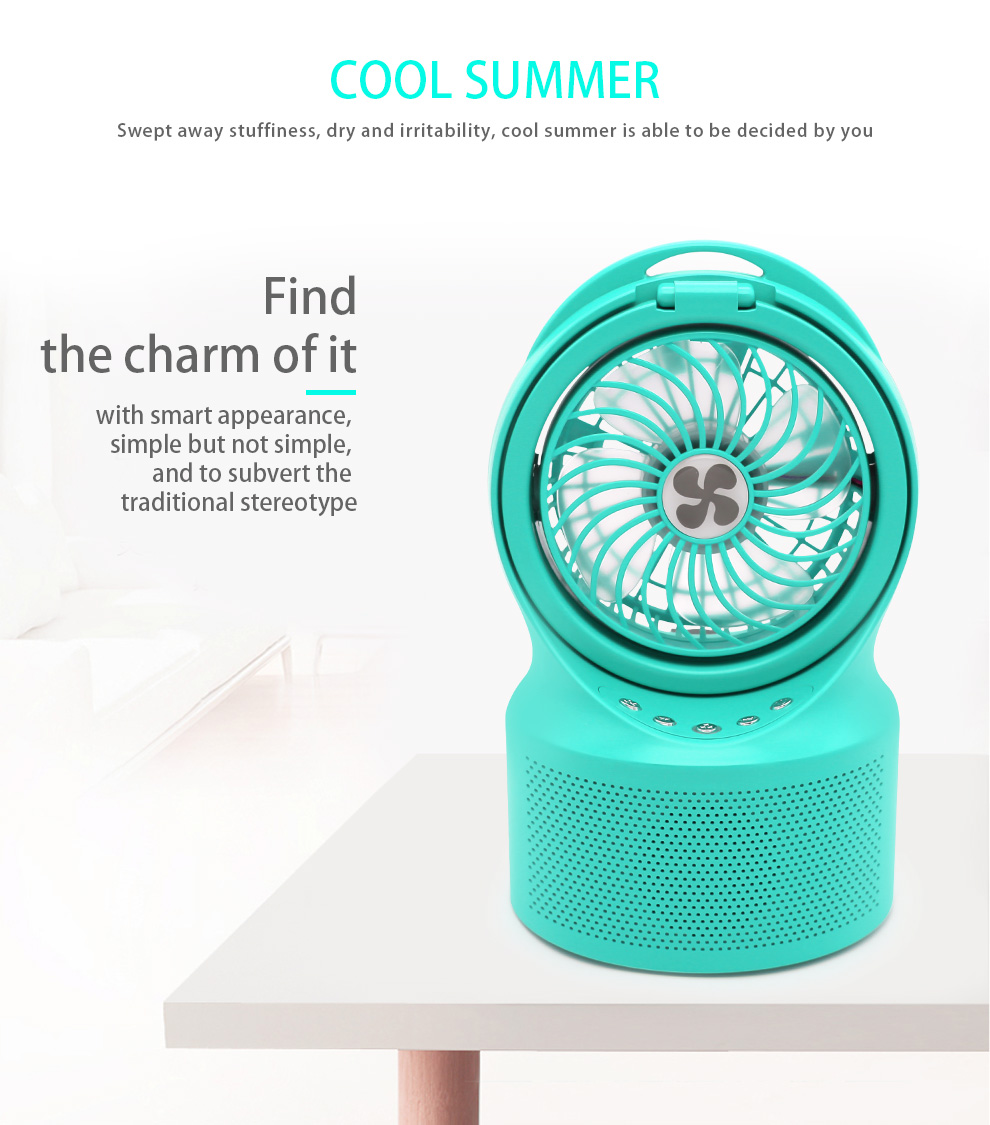 2019 newset USB portable mini rechargeable Bluetooth speaker fan with led light