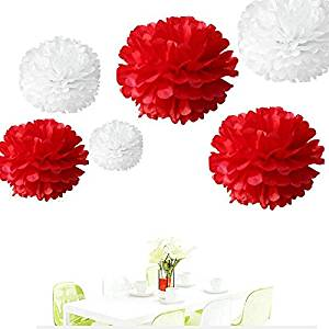 "Since ®12Pcs of 8"" 10"" 14"" 3 Colors Mixed White and Red Tissue Paper Flowers,Tissue Paper Pom Poms,Wedding Decor,Pom Pom Flowers,Tissue Paper Flowers Kit,Pom Poms Craft,Pom Poms Decoration"