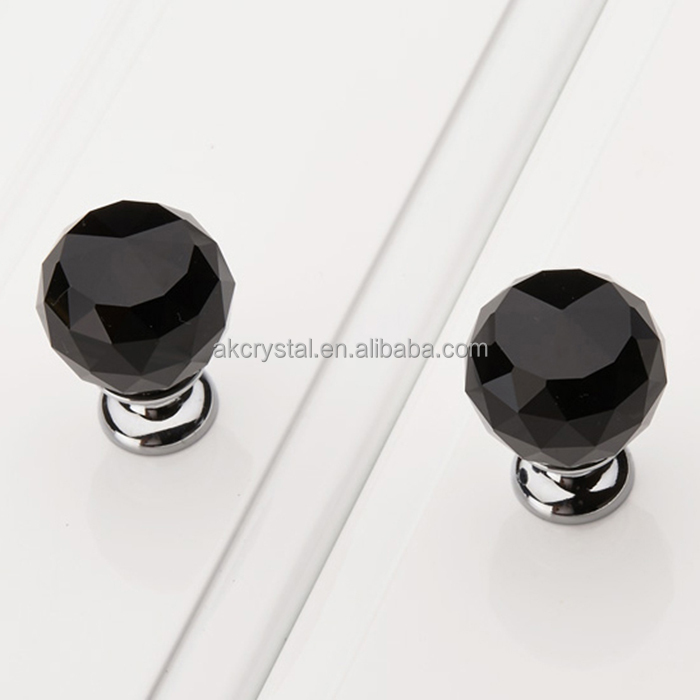 AKK1795 Wholesale fashion modern black faceted ball Crystal Handle Furniture Knobs/ Pull Glass Handles