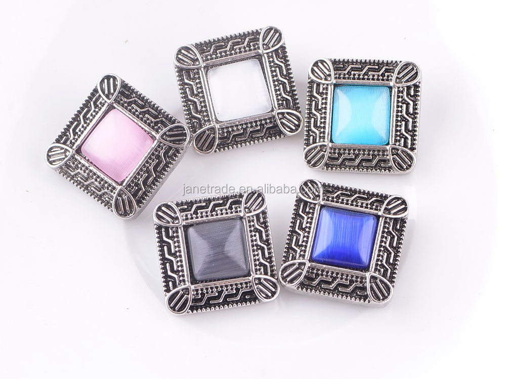 20MM Metal square Shaped colors Snap Button With Crystal Jewelry fit snap necklace bracelet