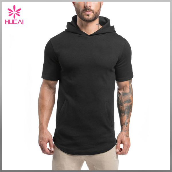 Customize Cotton Polyester Spandex Mens Short Sleeve Pullover Hoodie Black Plain Gym Hoodie with Slightly Side Splits