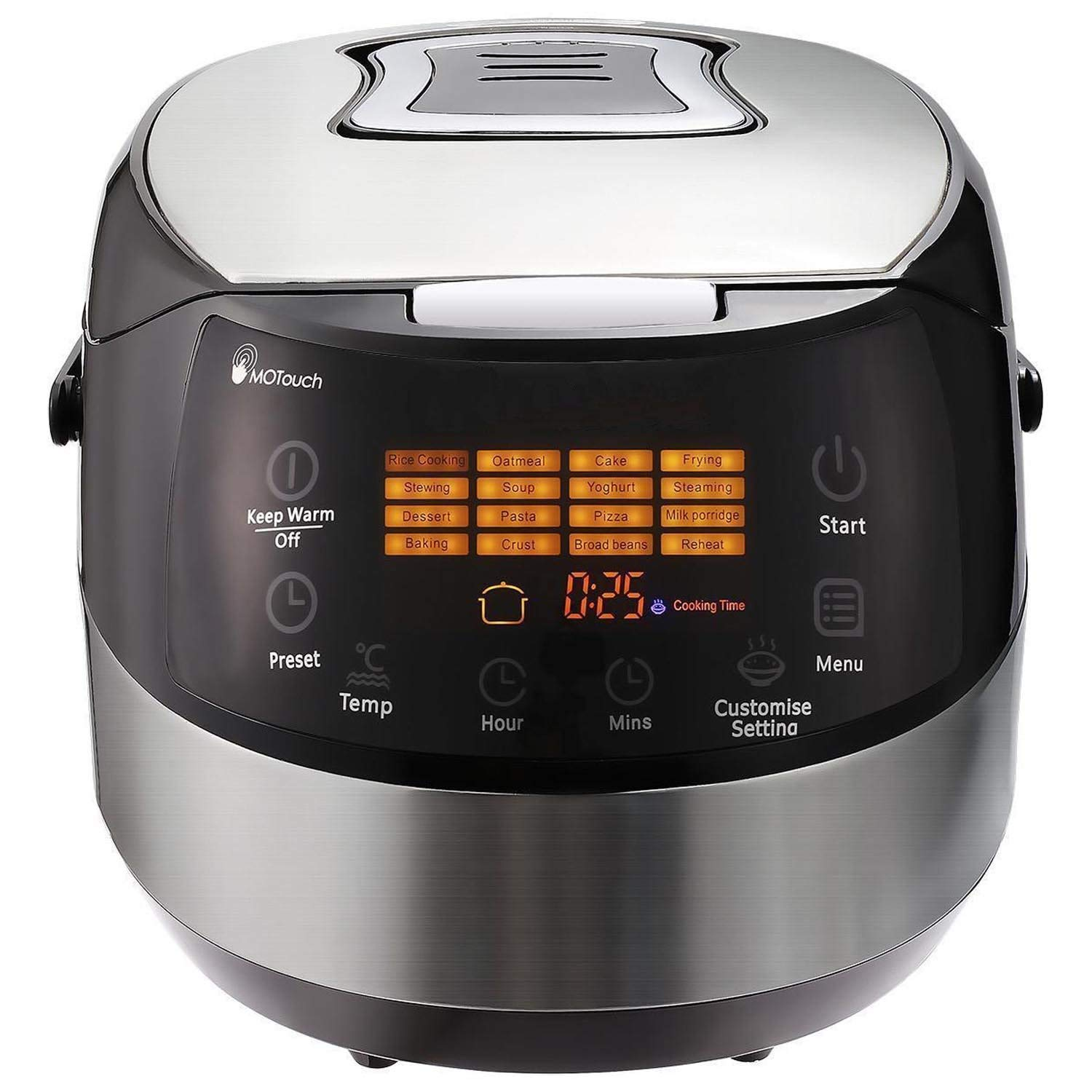 Stainless Steel Electric Rice Cooker, 10Cups 16-Modes LCD Touch Control Multi Functional Rice Cooker with Steamer and Warmer, Non-Stick Surface and 24h Preset Timer 860W, 6QT (US STOCK)