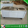 KN-2D10A factory supply double square pan Thailand rolled fried ice cream machine with 10 Cold Toppings