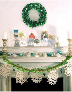 Wholesale PET Hanging Wired Tinsel Garland for Christmas Decorating/Xmas Decor/Christmas Craft