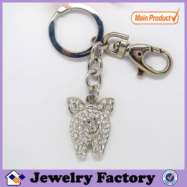 Latest promotional gift clear crystal zinc alloy pig keychain (15501)