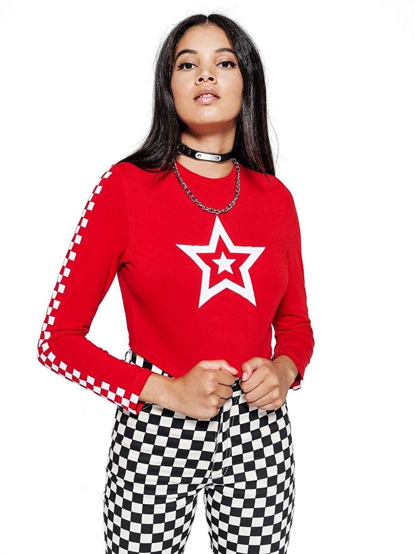 9f637e444 Get Quotations · Minga London Star Crop Top Long Sleeve Checkered Race Tee  Tumblr Grunge Feminist Slogan Red
