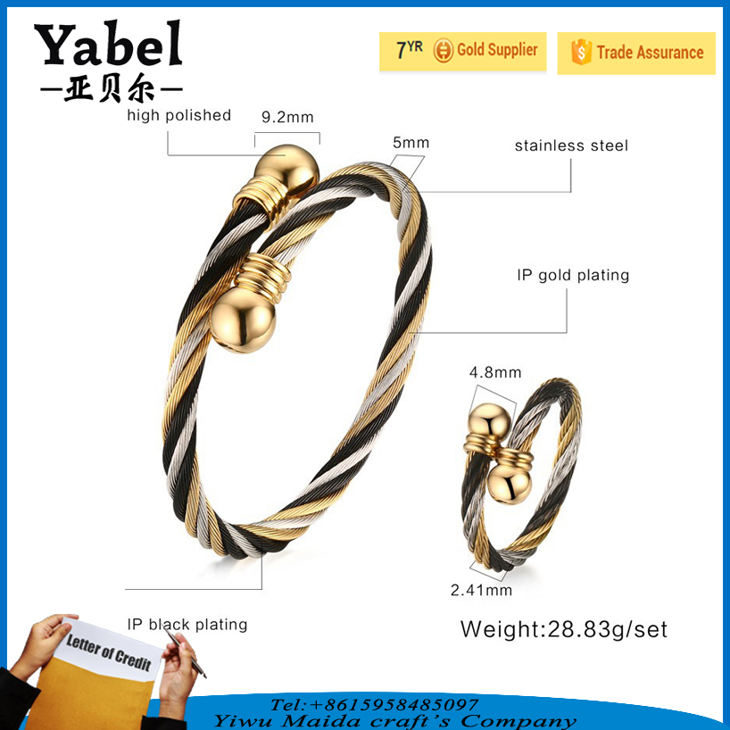 Wholesale Stainless Steel Ring Men Braided Cable Bracelets Alibaba Jewelry Set