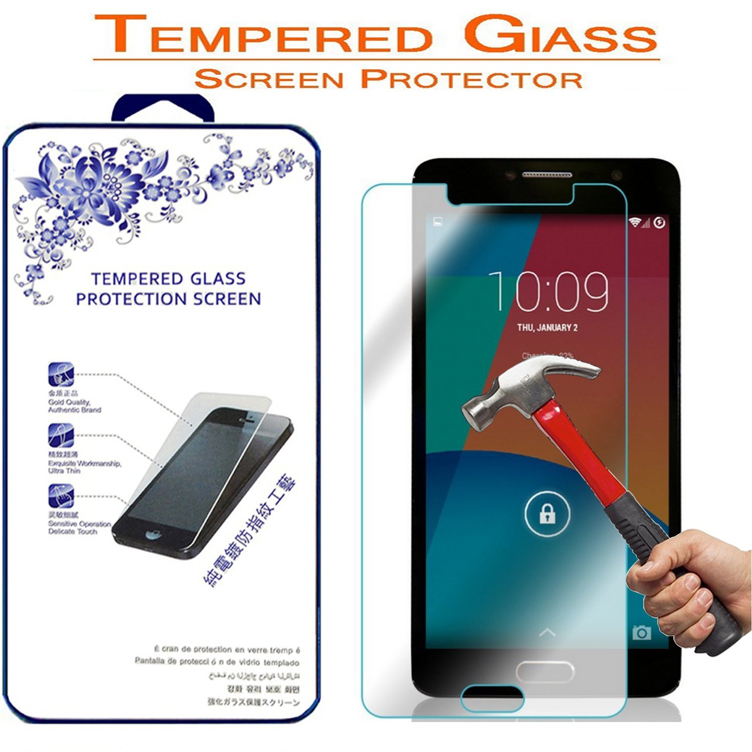 Alcatel One Touch Pop 4S Tempered Glass, Nacodex® Premium Tempered Glass Screen Protector For Alcatel One Touch Pop 4S 5.5-inch, 2.5D Round Edge 9H Hardness Bubble Free