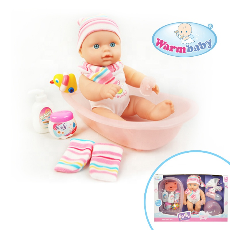 wholesale Warm baby toys swimming doll with plastic bathtub