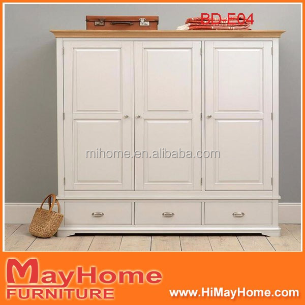 White antique solid pine wardrobe for children bedroom