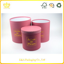 High quality cardboard round fresh flower box/cardboard hat flower box with pvc tray inside box