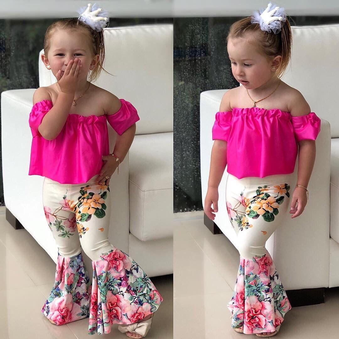cheap price new boutique children flared trousers toddler baby girl bell bottom flare pants
