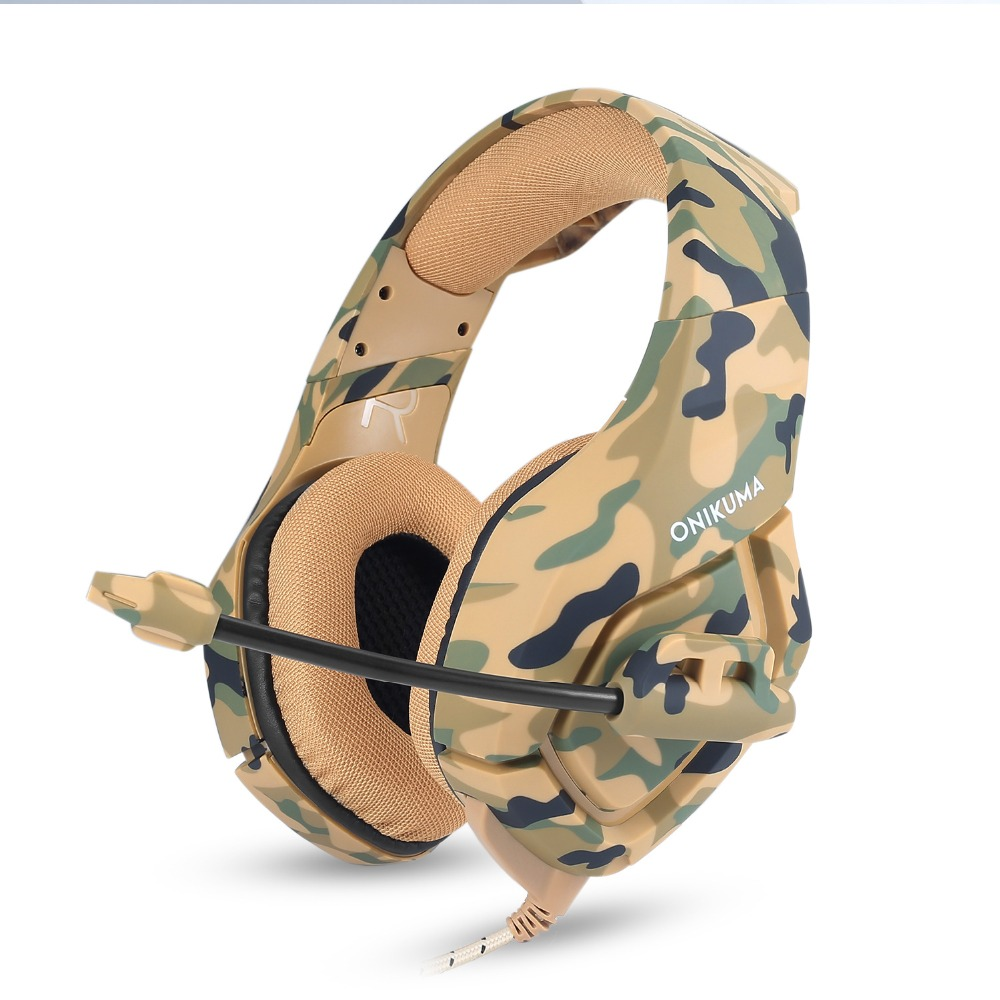 Camouflage PS4 Headset Bass Gaming Headphones Game Earphones Casque with Mic for PC Mobile Phone New Xbox One Tablet, Yellow camouflage/gray camouflage/black blue
