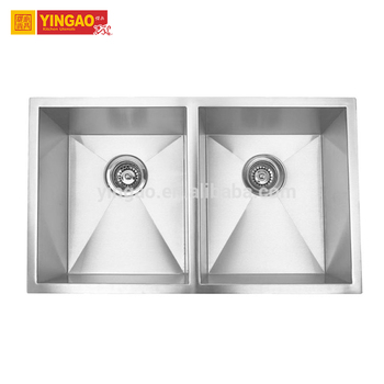 Customized Sizes Undermount Stainless Steel Double Bowl Designer Sinks for Bathroom
