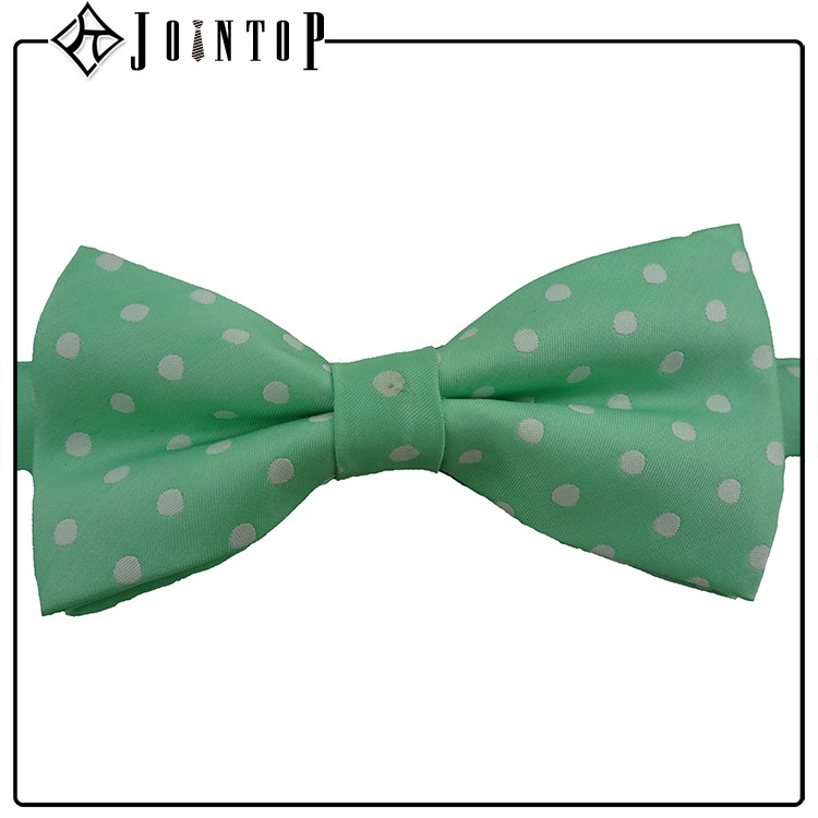 "Custom high quality white dot green adjustable ""pre-tied"" bow tie"