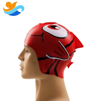Cartoon fish shape silicone swimming cap for kids