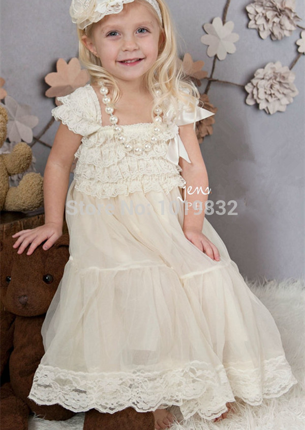 6c91cd7b1 Ivory Lace Flower Girl Dresses Vestido De Festa Ivory Rustic Dress Baby  Baptism Party Dress Girls Pageant Dresses