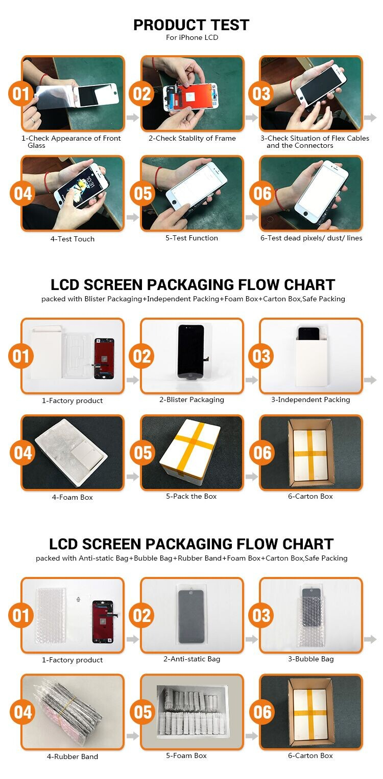 Factory low cost touch screen mobile phone lcd for iphone 7 screen refurbish