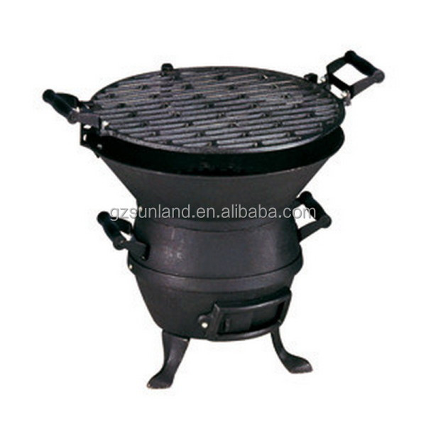 Grate height adjustable cast iron bbq grill