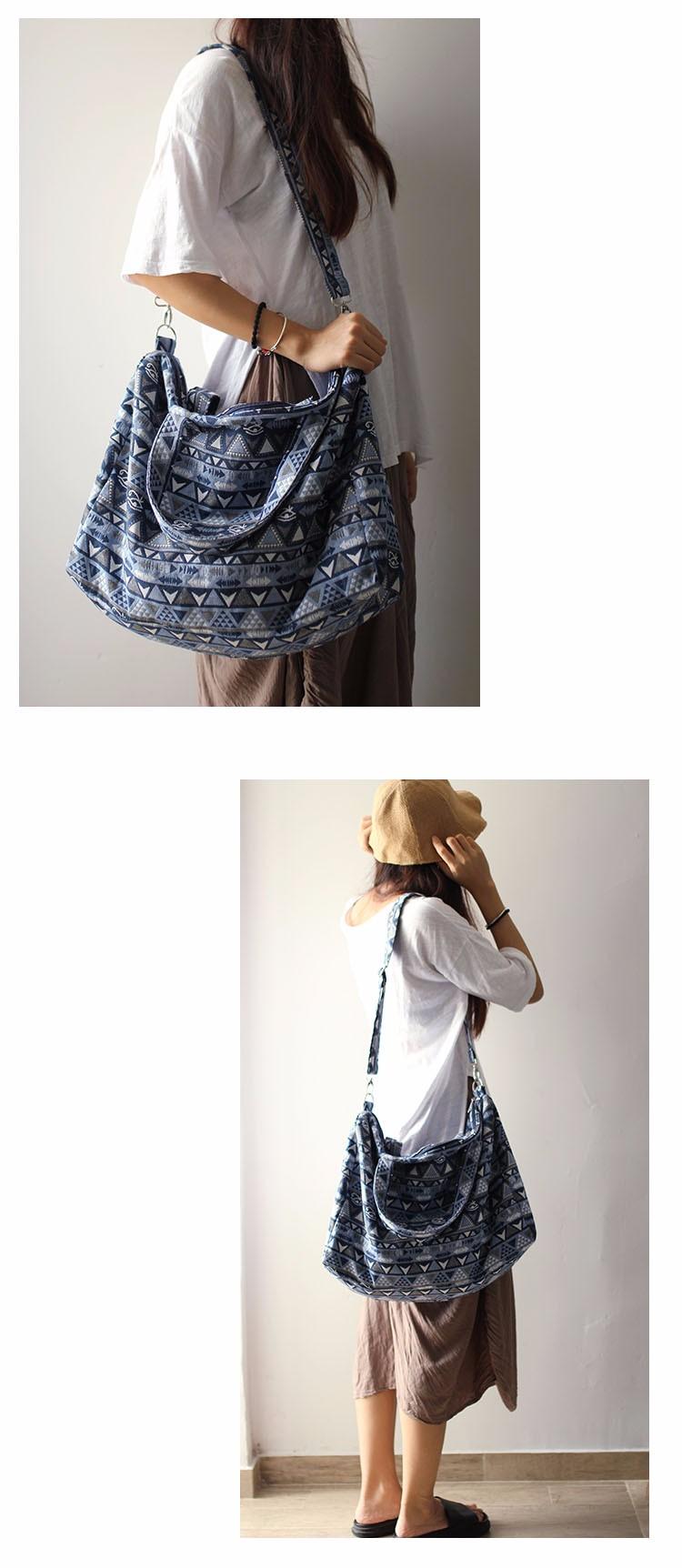 Canvas Leather Trim Travel Tote Duffel shoulder handbag Weekend Bag (7)