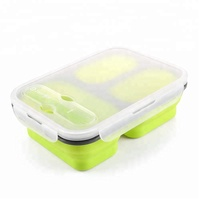 Leakproof Dishwasher Microwave Safe 3 Compartments Collapsible Lunch Box with Spoon