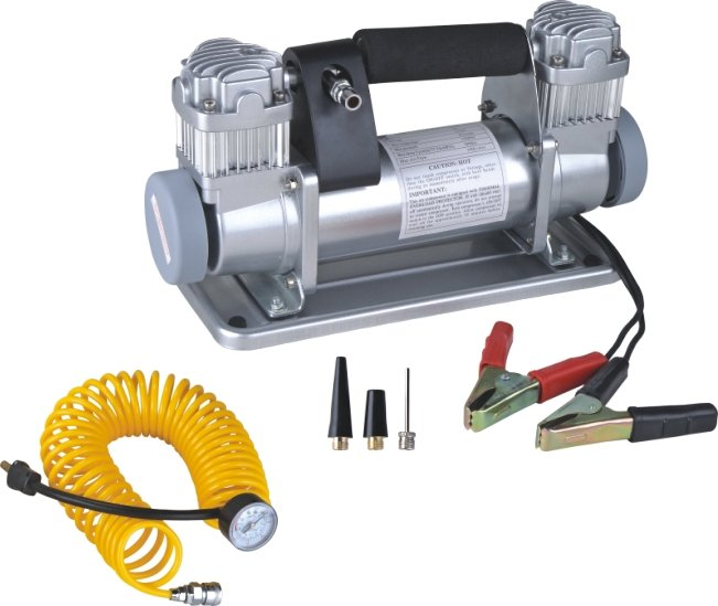 Meest populaire draagbare elektrische auto Dubbele Cilinder 12 V auto air compressor bar pomp
