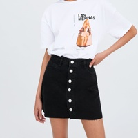Mini denim skirt fashion design button front women ladies jeans skirt