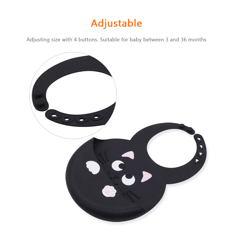 Animal Face Adjustable Waterproof 3D Silicone Baby Bibs with Catcher