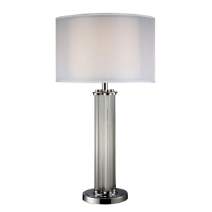 Hot Sale Sleek Contemporary Design Double Shade Glass Table Lamp With Chrome Metal Base