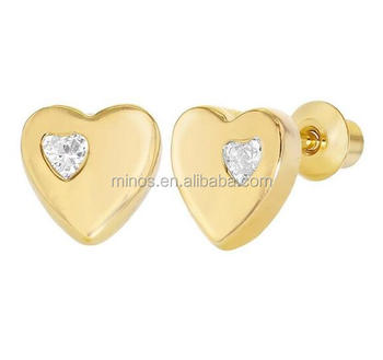 18k Gold Plated Clear Crystal Little Heart Back Safety Baby Earrings 6mm