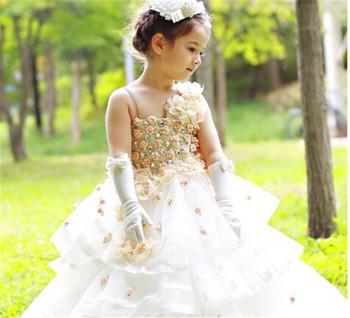 High Quality Full Flower Design Elegant Bridesmaid Dresses For Child Long Kids Wedding Dress