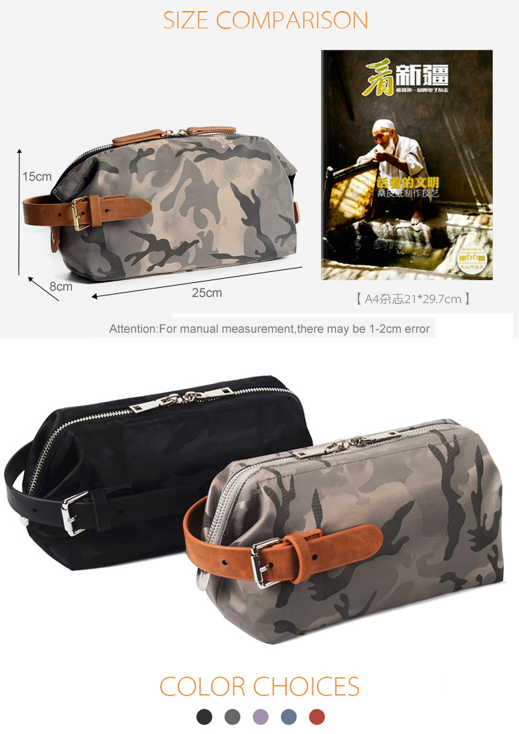 2019 New product fashion camo makeup bag with zipper cosmetic bags many colors nylon men toiletry bag