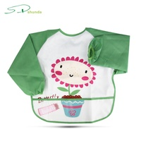 Hot Sales Eco-Friendly Full Color Printing Customized Reusable Waterproof Long Sleeves Baby Bibs