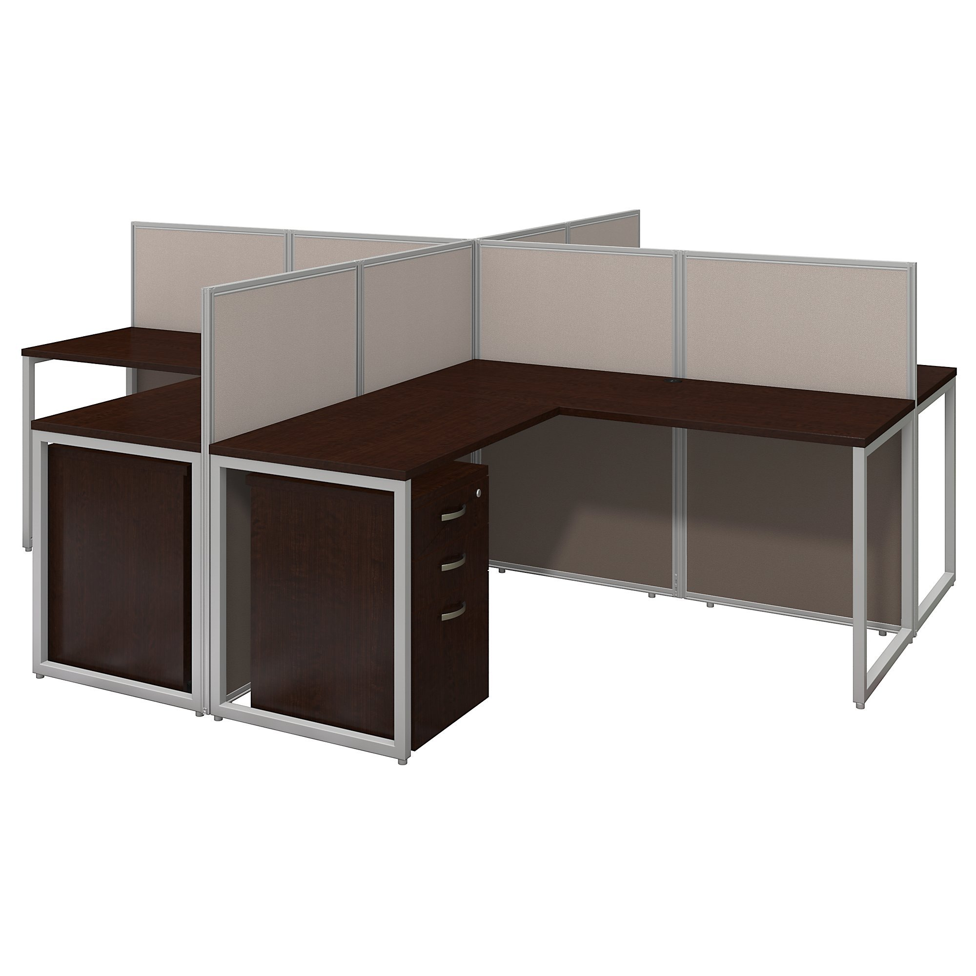 Get Quotations · Easy Office 60W 4 Person L Shaped Desk Open Office With  Mobile File Cabinets In Mocha