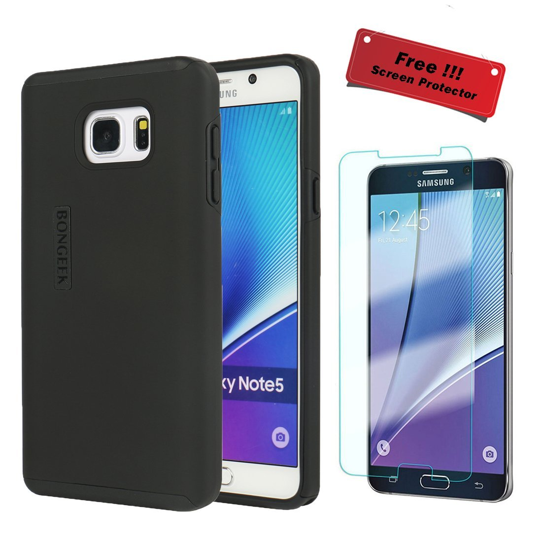 Samsung Galaxy Note 5 Case, FREE Tempered Glass Galaxy Note 5 Screen Protector WORTH $15 While Stocks Last, BONGEEK Dual Layer Hybrid Protective Case (Black)
