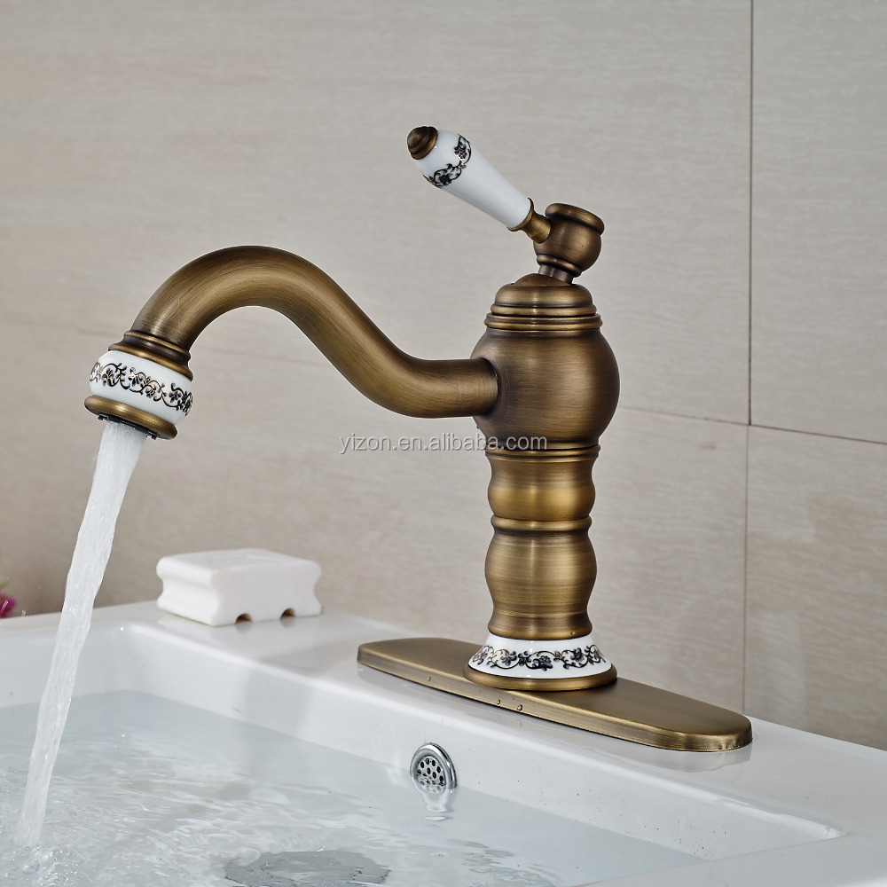 Wholesale Wall Mounted Antique Brass Bathroom Basin Faucet Dual ...