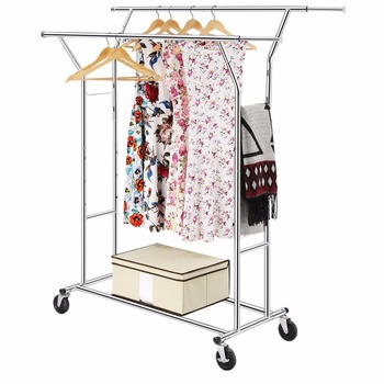 Commercial Grade Double Rail Hanging Clothes Rack Supreme Steel Garment Adjustable Rolling