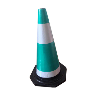700mm flexible green sleeve black rubber traffic cone