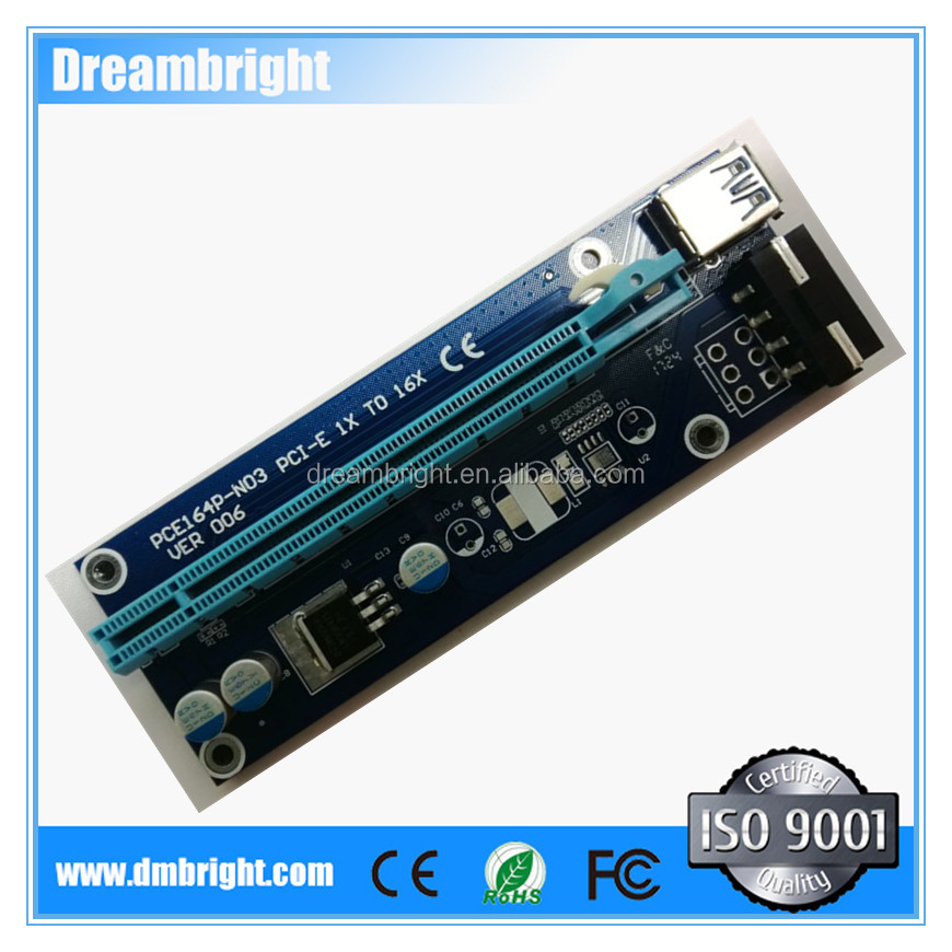 Hot sale Ver 006 PCI-E PCI E Express 1X to 16X Riser Card USB 3.0 Extender Cable for Bitcoin Mining