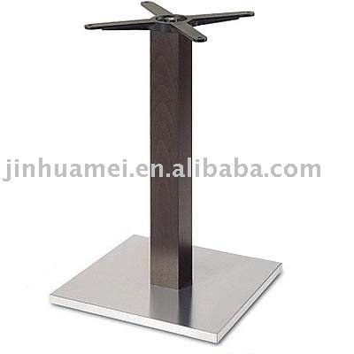 339-43SI SQUARE INOX DINING Table Base with imitated wood pole
