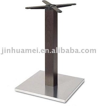 339-43si Square Inox Dining Table Base With Imitated Wood Pole ...