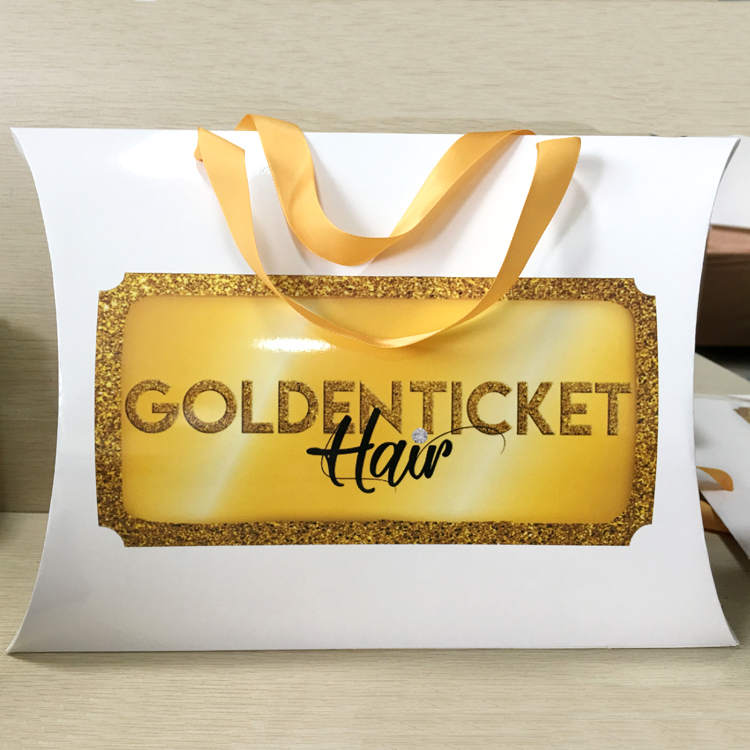 Custom gold foil logo pillow box, hair extension packaging pillow box